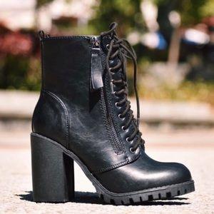 MALIA- Lace Up Heeled Bootie- Black